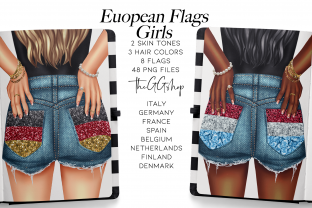 Print on Demand: Europe Flags Girls Planner Dolls Graphic Illustrations By TheGGShop