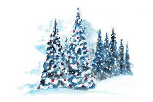 Print on Demand: Hand Painted Watercolor Christmas Tree Grafik Illustrationen von AmitDebnath
