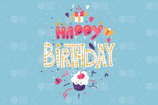 Print on Demand: Happy Birthday Greeting Card Graphic Illustrations By barsrsind
