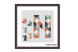Print on Demand: Letter N and Hare Nursery Cross Stitch Graphic Cross Stitch Patterns By Tango Stitch