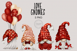 Print on Demand: Love Heart Gnome Clipart Gráfico Ilustraciones Por Celebrately Graphics