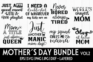 Print on Demand: Mother's Day Bundle SVG VOL2 - 8 DESIGNS Graphic Crafts By inlovewithkats