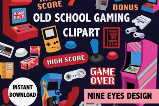Print on Demand: Old School Arcade Clipart Graphic Illustrations By Mine Eyes Design