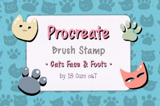 Print on Demand: Procreate Brush Stamp | Cats Face Foots Graphic Brushes By 18 Curo caT