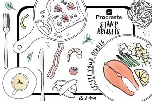 Procreate Stamp Brush Create Your Dishes Grafik Pinselstriche von Jyllyco