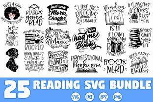 Print on Demand: Reading Book SVG Bundle Grafik Plotterdateien von freelingdesignhouse