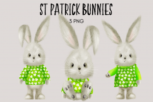 Print on Demand: St Patrick Bunny Clipart Graphic Illustrations By Celebrately Graphics