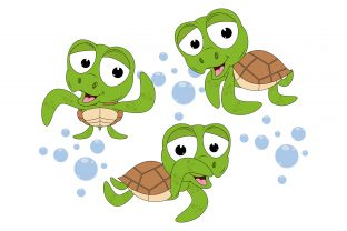 Print on Demand: Cute Turtle Animal Cartoon Graphic Illustrations By curutdesign