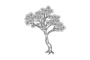 Blossom Tree Line Drawing Nature & Outdoors Craft Cut File By Creative Fabrica Crafts