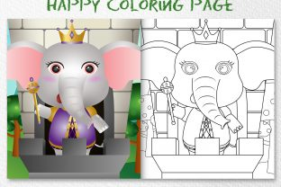 A Cute Elephant King - Coloring Page Graphic Coloring Pages & Books Kids By wijayariko