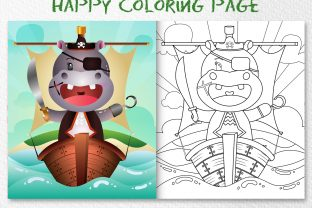 A Cute Hippo Pirates - Coloring Page Graphic Coloring Pages & Books Kids By wijayariko