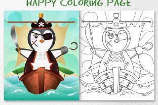 A Cute Penguin Pirates - Coloring Page Graphic Coloring Pages & Books Kids By wijayariko