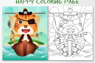 A Cute Tiger Pirates - Coloring Page Graphic Coloring Pages & Books Kids By wijayariko