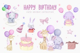 Animal Brithday Character Set Graphic Illustrations By alolieli