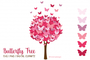 Print on Demand: Butterfly Tree Pomegranate Pink PNG SVG Graphic Illustrations By vivera
