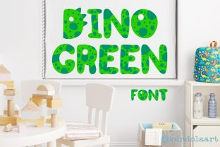Print on Demand: Dino Green Color Fonts Font By KundolaArt