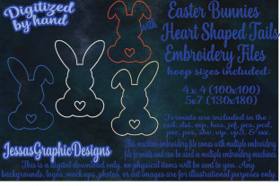 Print on Demand: Easter Bunnies Line Stitch Easter Embroidery Design By JessasGraphicDesgins