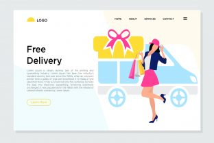 Print on Demand: Free Delivery Landing Page Illustration Graphic Landing Page Templates By Riduwan Molla