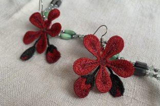 Geranium Earrings Fashion & Beauty Embroidery Design By EmbDesigns