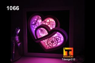 Heart Gears Paper Cut Light Box Shadow Graphic 3D Shadow Box By Tdesign510