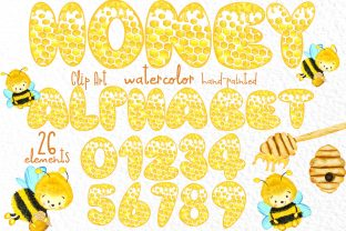 Print on Demand: Honey Alphabet Cute Letters and Numbers Graphic Illustrations By vivastarkids