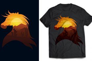 Horse and Desert Double Exposure T-shirt Graphic Print Templates By naemislamcmt