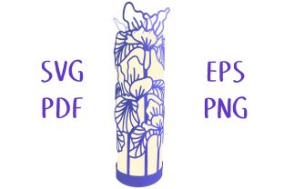 Iris Flower Lantern SVG Cut File Grafik 3D SVG von Nic Squirrell