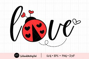 Ladybug Love Svg Cutting File. Graphic Illustrations By CatAndMe