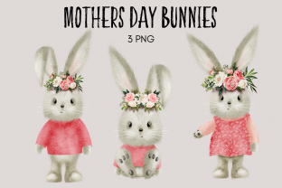 Print on Demand: Mothers Day Bunnies Rabbit Clipart Graphic Illustrations By Celebrately Graphics