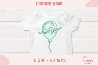 One Year Balloon Applique Birthdays Embroidery Design By carasembor