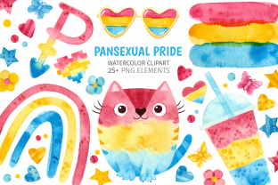Print on Demand: Pansexual Pride, Watercolor Clip Art Graphic Illustrations By ValinMalin