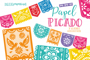 Print on Demand: Papel Picado Clipart Set Graphic Illustrations By DigitalPapers