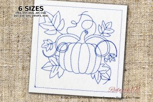 Pumpkin and Leaf Lineart Halloween Embroidery Design By Redwork101