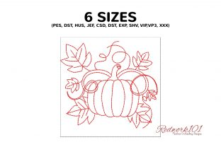 Pumpkin and Leaf Lineart Halloween Embroidery Design By Redwork101 2