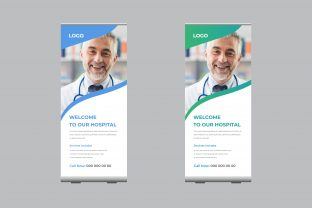 Roll-Up Banner Template for Hospital Graphic Print Templates By sohagmiah_0