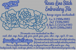 Print on Demand: Roses Line Stitch Bouquets & Bunches Embroidery Design By JessasGraphicDesgins