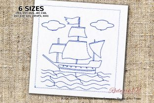 Sailing Ship in the Sea Lineart Beach & Nautical Embroidery Design By Redwork101