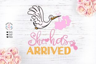 She Has Arrived - Baby Birth Svg - Stork Graphic Illustrations By GraphicHouseDesign