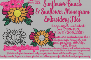 Print on Demand: Sunflower Bunch with Monograms Bouquets & Bunches Embroidery Design By JessasGraphicDesgins