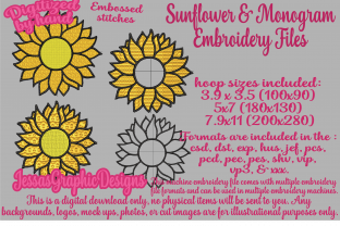 Print on Demand: Sunflowers with Monograms Single Flowers & Plants Embroidery Design By JessasGraphicDesgins