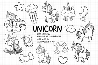 Print on Demand: Unicorn Digital Stamps, Unicorn PNG Graphic Crafts By Chonnieartwork