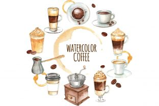 Watercolor Coffee Icon Sets Grafik Icons von naemislamcmt