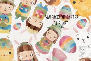 Watercolor Easter Clipart | Set of 15 | Graphic Illustrations By NotturnoClipArt