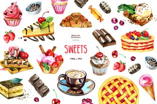 Watercolor Sweets Clipart Graphic Illustrations By NataliMyaStore