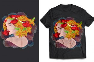Woman and Flower Double Exposure T-Shirt Graphic Print Templates By naemislamcmt