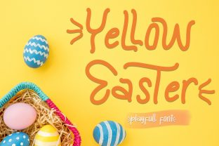 Print on Demand: Yellow Easter Display Font By yogaletter6
