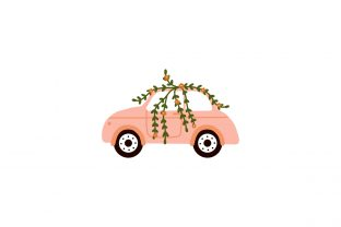 Print on Demand: Retro Car and Floral Abstract Flowers Graphic Illustrations By Musbila