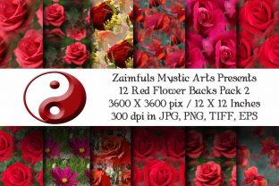 Print on Demand: 12 Red Flower Joy Backs Graphic Backgrounds By Zaimfuls Mystic Arts