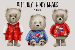 Print on Demand: 4th July Teddy Bear Clipart Graphic Illustrations By Celebrately Graphics