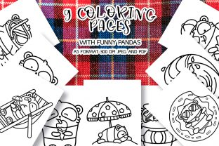 9 Coloring Pages with Funny Pandas Graphic Coloring Pages & Books Kids By Анна Конева